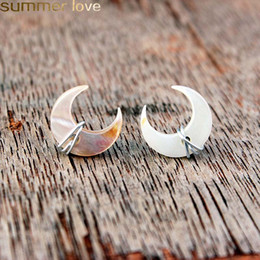 Discount wire wrapped gemstones - Unique Design Crescent Moon Stud Earrings Mother of Pearl Gemstone Post in Gold Sterling Silver Handmade Wire Wrapped Ea