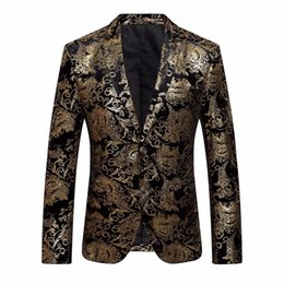Homens Vestido Floral Terno Entalhado Lapela Slim Fit Elegante Blazer Brasão Jacket Z10 # 530720 venda por atacado