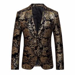 Robe pour homme costume floral revers cranté Slim Fit élégant blazer manteau veste Z10 # 530720 en Solde