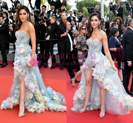 cannes film dresses 2019 - Cannes Film Festival 2019 Araya Hargate Celebrity Dresses Sweetheart Neck Sexy Side Split 3D Flora Appliques Formal Red