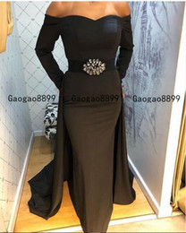 Wholesale african fashion designs dress for sale - Group buy 2020 Stunning Mermaid evening formal dresses with crystal sash design off the shoulder long sleeves custom made african prom dresses