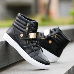 Discount top dance shoes - Koovan Men's Fashion Sneakers 2019 New Men's Large Size Personality Shoes High Top PU Leisure Street Dance Boo