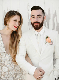$enCountryForm.capitalKeyWord Australia - Ivory White Men Suits For Wedding Suits Custom Made Bridegroom Groomsmen Slim Fit Formal Groom Wear Best Man Jacket Tuxedos Blazer 2Pieces