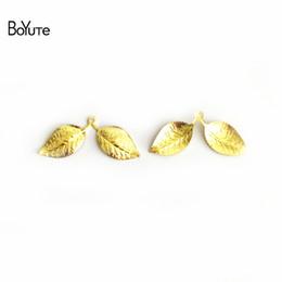 Leaf Coin Australia - wholesale BoYuTe 100Pcs 13*32MM 7 Colors Vintage Leaf Wholesale Filigree Brass Material DIY Jewelry Pendant Charms