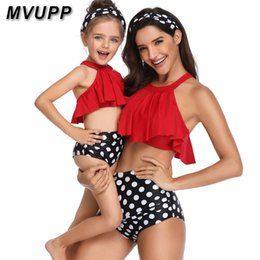 Match Clothing Mom Baby NZ - Family Swimsuit Mommy And Me Clothes Mother Daughter Matching Outfits Swimwear Polka Dot Bikni High Waist Vintage Look Mom Baby Y19051103