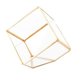 Wholesale Fashion Geometric Micro Landscape Plant Transparent Glass House Flower Room Wedding Ring Jewelry Box Home Decoration Ornament