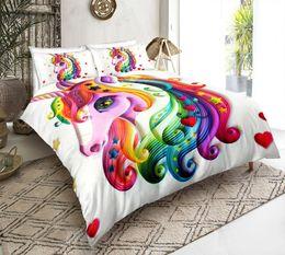 $enCountryForm.capitalKeyWord Australia - Thumbedding Dropship Colorful Hair Unicorn Bedding Sets Animal Print 3D Duvet Cover Set All Size 100% Polyester Colorful Bed Set