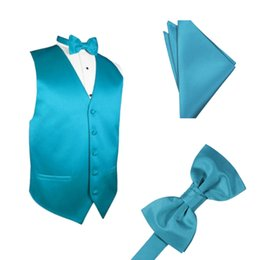 Wholesale satin suspenders for sale – plus size Airtailors Men s Solid Color Satin Dress Vest for Wedding Bowtie and PocketSquare