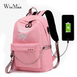 $enCountryForm.capitalKeyWord Australia - Winmax Luminous USB Charge Women Backpack Fashion Letters Print School Bag Teenager Girls Ribbons Backpack Mochila Sac A Dos #33165