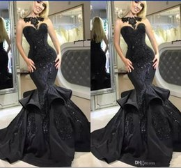 Sexy Apple Australia - 2019 Black Mermaid Prom Dresses Sweetheart Sleeveless Beaded Applique Lace Special Occasion Dresses Sexy Evening Dresses For Formal Wear