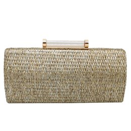 $enCountryForm.capitalKeyWord UK - AUAU-Clutch Female Straw Pillow Weave Clutch Bag Fashion with Chain Luxury Handbags Women Bags Main Femme