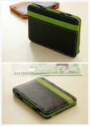 wholesale magic wallet NZ - Fashion Magic Wallet Money Clip Card ID Slim Light Flip Leather Purse Money Case Band Bifold Business Leather Wallet