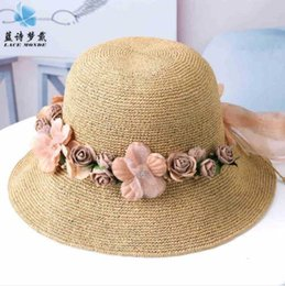 artificial small grass NZ - 2019 new hot special fine hand-woven female summer beach hat small fresh travel seaside sunshade folding straw hat