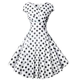 Rockabilly Pin Up UK - White Polka Dot Women Summer Dress Robe Pin Up Retro 50s Vintage Rockabilly Swing Dresses Floral Slim Elegant Party Dress
