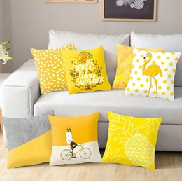 Yellow chairs online shopping - Polyester Geometric Cushion Yellow Pineapple Pillow Decorative Cushion for Sofa DIY Printed Pillow Seat Chair