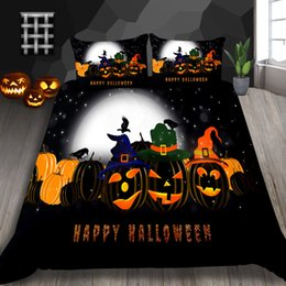 ChoColate duvet set king online shopping - Pumpkin Lantern Print Bedding Set For Children D Duvet Cover Halloween Decoration King Queen Double Single Twin Bed Cover with Pillowcase