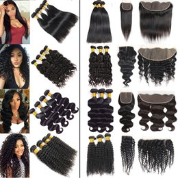 prices closure NZ - Wholesale Price Brazilian Virgin Hair Straight Bundles with Frontal Body Deep Wave Human Hair Bundles with Closures 34 36 40 Long Extensions