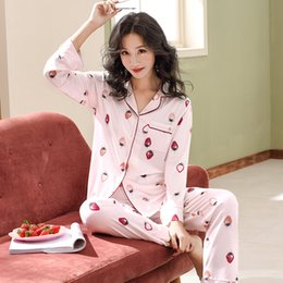 Nightwear for womeN plus size online shopping - high quality modal cotton pajama sets strawberry print home clothes for women plus size M XL turn down collar nightwear