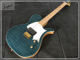 Guitar White NZ - electric guitar customized body and head stock shape,gray blue top color,maple neck,gold parts,white pearl tortoise style binding ,free ship