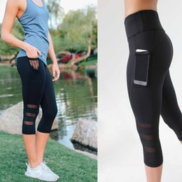 mid cell phone UK - Yoga Pants Running Sports Leggings Side Pocket Cell Phone Capri Pants Women Workout Gym Tight Trousers