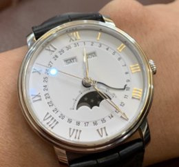 Mechanical Moonphase online shopping - Classic Luxury B Watch multi function Automatic Movement Moonphase Calendar Sapphire Silver Dial Leather Gentlemen Wristwatches