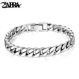 $enCountryForm.capitalKeyWord Australia - Zabra Real 925 Sterling Silver Bracelet Mans 8mm Width Link Rock Fashion Chain Bracelets For Man Jewelry Gift MX190727