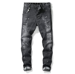 $enCountryForm.capitalKeyWord UK - Unique Mens Painted Rips Stretch Black Jeans Fashion Designer Slim Fit Washed Motocycle Denim Pants Panelled Hip HOP Trousers 1013