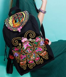 New Style Cotton Embroidery Fabric Australia - 2019 new ladies original ethnic style retro national style embroidery backpack travel fabric side shoulder bag butterfly