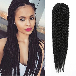 $enCountryForm.capitalKeyWord NZ - 3Pcs Lot Box Braids Crochet Hair Extensions 18inches Ombre Kanekalon Fiber Synthetic Braiding Hair Bulk Crochet Braids
