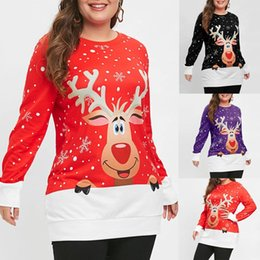 Discount woman christmas blouses - Fashion Women Merry Christmas Snowflake Elk Printed Top O-Neck Sweatshirt Blouse womens hoodies pullover friends sweatsh