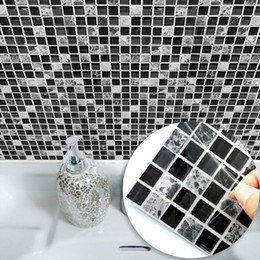 mosaic tile wall art NZ - Black & Grey Mosaic Waterproof Wall Sticker Bathroom Toilet Tile Wall DIY Stickers Kitchen Self adhesive Background Sticker Decals