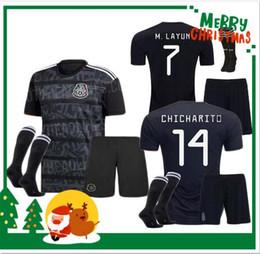 e0125c97eaf Adult kits 2019 Gold Cup Mexico Soccer Jersey black 19 20 CHICHARITO H. LOZANO  youth men football jerseys set shirts