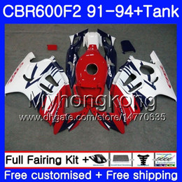 Honda Cbr F2 Red Fairings Australia - Body+Tank For HONDA CBR 600F2 CBR600FS CBR600F2 91 92 93 94 288HM.33 CBR 600 F2 FS CBR600 F2 Red blue white 1991 1992 1993 1994 Fairing kit