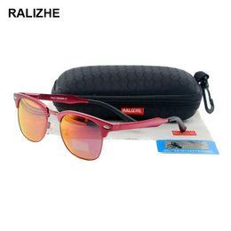 42298373f29 RALIZHE Mens Womens Fashion HD Polarized Sunglasses Designer Aluminum  Magnesium Alloy Colorful Mirror Sun Glasses Semi Light Blue UV400
