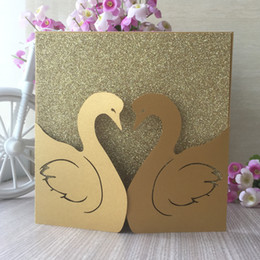 $enCountryForm.capitalKeyWord Australia - 50PCS  lot Hollow Swan Loves Pattern Wedding Invitation Card Decoration With Birthday Party Father's Day Gifts Card