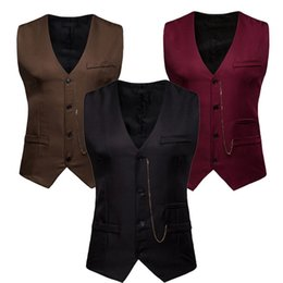 Wholesale short sleeves suits for men resale online – 2019 New Arrival Dress Vests For Men Slim Fit Mens Suit Vest Male Waistcoat Gilet Homme Casual Sleeveless Formal Business Jacket