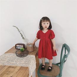 $enCountryForm.capitalKeyWord Australia - Newest Summer Little Girls Dresses Organic Cotton Fabric Blank Girls Dress Short Sleeve V-neck Front Buttons Princess Party Child Dresses
