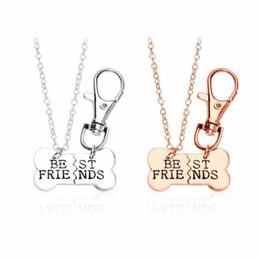 Bff Necklaces Australia - Gold Silver BEST FRIENDS Pendant Necklace pet dog bones jewelry BFF Necklace 2 part dog bones necklace and keychain -P