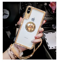 Wholesale Bling Glitter Rhinestone phone Case For iphone X S Plus Xs Max Xr Shockproof Airbag Cover Diamond Phone Holder Stand Bracket
