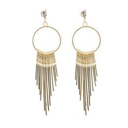 $enCountryForm.capitalKeyWord Australia - 1 Pair Long Tassel Pendants Classic Earrings Fashion Luxury Design Earrings For Women Girls Brillant Cute Metal Golden Golde