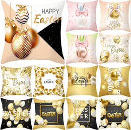 "Discount hunting decor - 18""*18"" Easter Bunny Rabbit Gold Egg Hunt Pillowcase Cushion Pillow Cover Easter Day Chocolate Egg Chicken Eas"
