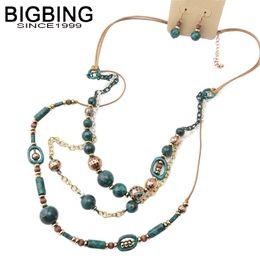 $enCountryForm.capitalKeyWord Australia - BIGBING fashion jewelry fashion retro golden beads leather Necklace stud Earrings jewelry set high quality free shipping Z120