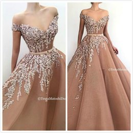 Sweetheart Beaded Evening Tulle Champagne Australia - Champagne Lace Beaded 2019 African Dubai Evening Dresses Sweetheart A-line Tulle Prom Dresses Vintage Sexy Formal Party Bridesmaid Gowns