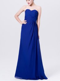Chinese  2019 spring strapless classic blue color ruched sleeveless style long chiffon, different color bridesmaid dress---flyingdress manufacturers