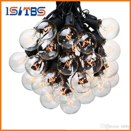 patios vintage NZ - 25Ft G40 Bulb Globe String Lights with Clear Bulb Backyard Patio Lights Vintage Bulbs Decorative Outdoor Garland Wedding