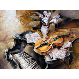 hand painted abstract canvas art Australia - Modern paintings abstract violin on piano hand painted canvas art women picture for home decor