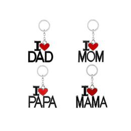 Famille Porte-clés Amour Maman Amour Papa Porte-clés 4 Styles Porte-clés Porte-clés pour Mama Papa Père Cadeau De La Fête Des Mères en Solde
