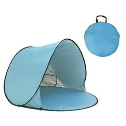 Discount pop up beach shade - Wholesale-Beach Tent Ultralight Folding Tent Pop Up Automatic Open Family Tourist Fish Camping Fishing Anti-UV Fully Sun