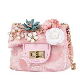 455c21f46378 Fashion Cute Small Girl s Flower Messenger Bag Mini Designer Children Lace  Flap Crossbody Bag Princess Shoulder Bag Kids Handbag