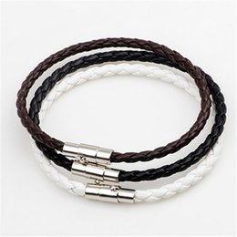 Bracelet Macrame Silver Australia - Handmade Boho Hippie Black White Dark Brown Macrame Leather Silver Color Easy Magnet Lock Closure Stackable Bracelets for Man